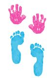 Child's hand and foot prints. Child's hand and footprints made with poster paint. Isolated on a white background stock photography