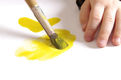 Child's hand painting Royalty Free Stock Images