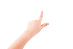 Child's hand pointing out royalty free stock photography