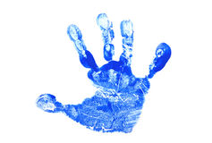 Child's Hand Print. Blue Hand Print of a Child's Hand stock images