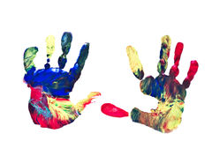 Child's Hand Prints. Actual Pair of Preschooler's Handprints Isolated on White stock image