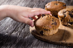 Child's hand reaching for a muffin Royalty Free Stock Image