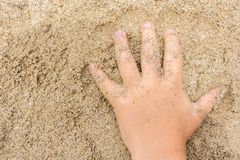 Child`s hand in the sand on the beach stock image