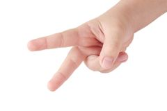 Child's hand showing two fingers Stock Photo