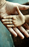 Child's hand on top of an adult's Stock Photos