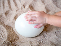 Child's hand touching egg on the sand Stock Photos