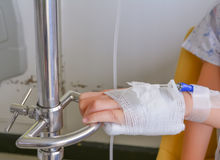 Child's hand who fever patients have IV tube. Royalty Free Stock Photos