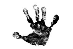 Child's handprint. In Black Isolated on White Background royalty free stock photography