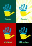 Child's handprint, paint the flag of Ukraine Royalty Free Stock Photos