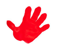 Child's handprint with red textured paint. Isolated on white background royalty free stock photos