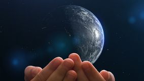 Child's hands hold planet Earth, concept - the world in the hands of children. video loop, Used maps and textures