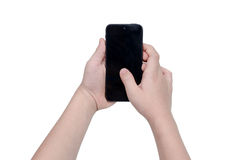 Child's hands holding smart phone over white Stock Photos