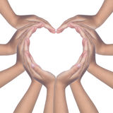 Child`s hands making a heart shaped royalty free stock photo