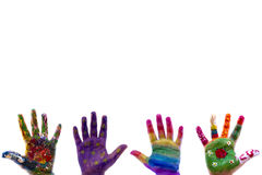 Child's hands painted watercolor on white background Stock Photo