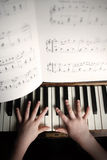 Child S Hands Playing On A Old Piano Royalty Free Stock Photos