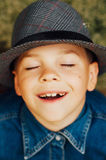 Child`s happy face . Portrait of a Cute Kid. little boy with sh royalty free stock images