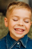 Child`s happy face . Portrait of a Cute Kid. little boy with sh stock photo