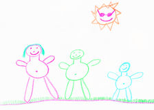 Child's happy family illustration. Stick people crayon drawing of a family Royalty Free Stock Image