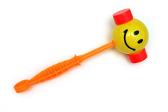 Child's happy hammer. Kid's hammer toy with smilie face on it royalty free stock photo