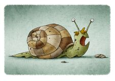 Free Child`s Illustration Of A Green Snail And A Brown Shell That Is Happy Royalty Free Stock Photo - 181707155