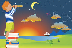Child's imagination and reading Royalty Free Stock Photo