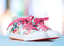 Child's kid's textile sneakers shoes. Stock Photo