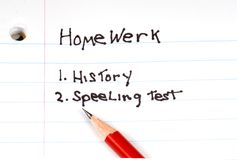 Child's list of homework Royalty Free Stock Images