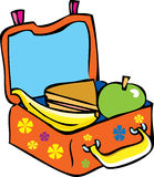 A child's lunchbox. A bright orange cartoon children's lunch box with healthy snacks,wholemeal bread sandwich, a banana and an apple Royalty Free Stock Photography