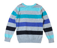 Child's male sweater isolated on white. Male sweater stripes isolated on white nobody.Child boy's pullover Stock Images