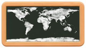 Child's Mini Chalkboard - Chalk World Map. Child's mini plastic chalkboard with a wold map drawn in chalk. Nasa map from http://visibleearth.nasa.gov/view.php?id Royalty Free Stock Photos