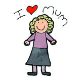 Child's mother's day drawing Royalty Free Stock Photo