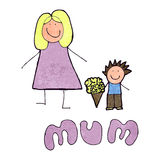 Child's mother's day drawing Stock Photos