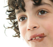 Child's Mouth Smeared with Chocolate Stock Images