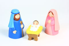 A Child's Nativity. A child's toy nativity set on a white background Royalty Free Stock Photo