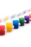 Child's Paint pots. Shallow focus closeup of a child's paint pots royalty free stock photos