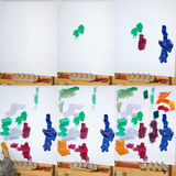 Child's Painting. Time Lapse sequence compilation of  a child's painting, in 6 photo's Stock Photography