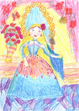 Child's painting beautiful girls. Royalty Free Stock Images