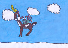 Child`s painting: Christmas deer with wings in the sky. This child`s painting is about christmas deer with white wings and golden horns. It has box with candy Stock Photo
