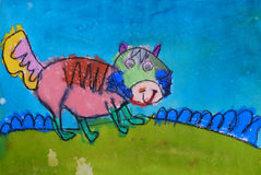 Child's painting - colorful dog Stock Photos