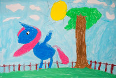 Child's painting - colorful horse Royalty Free Stock Images