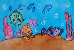 Child's painting - creatures under the sea Stock Photo