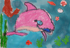 Child's painting - dolphin in the sea Royalty Free Stock Photo