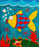 Child`s painting fish Royalty Free Stock Photography