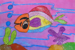 Child's painting - fish in the sea Stock Photography