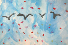 Child's Painting: Geese in Autumn. Child's Painting of geese in sky in autumn Stock Images