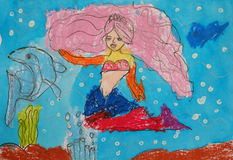 Child's painting - mermaid and dolphin Royalty Free Stock Photo