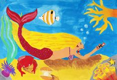 Child`s painting on paper of Underwater`s life Stock Image