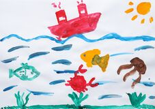 Child`s painting of ship and underwater life on paper