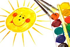 Child's Painting of smiling sun Stock Photos