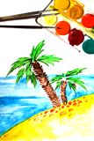 Child's Painting of tropical coast and palm. Brushes and paints Royalty Free Stock Photography